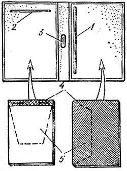 Рис. 66. Изготовление записной книжки: 1 - прорезь для вставки записной книжки; 2 - прорезь для и ставки блокнота; 3 - держатель карандаша; 4 - ткань; 5 - картон